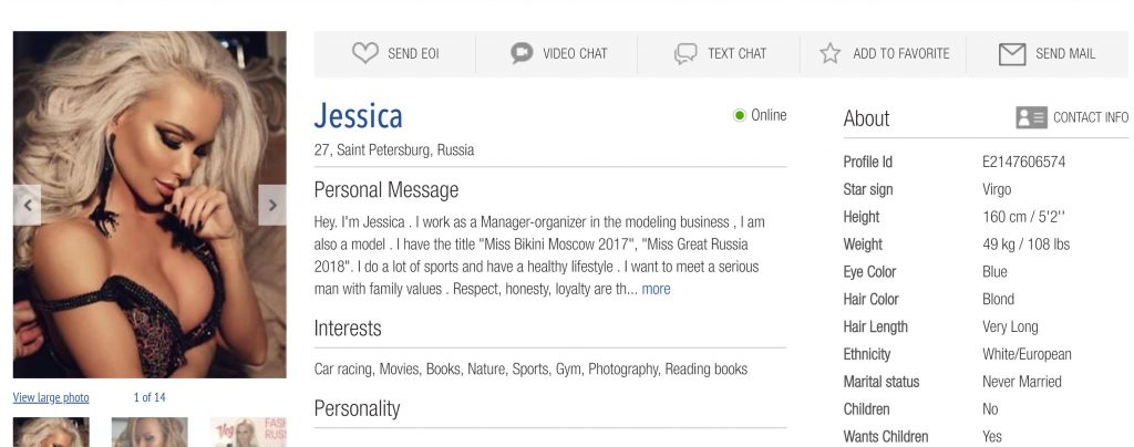 Jessica St Petersburg dating profile